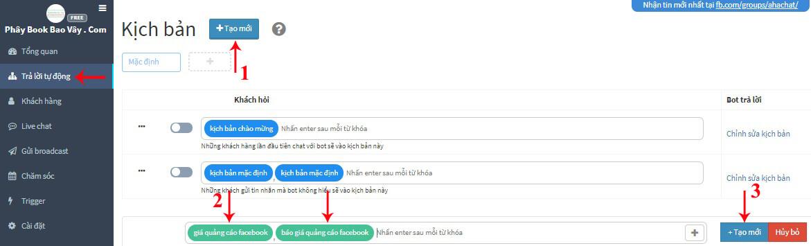 tạo kịch bản chatbot từ khóa