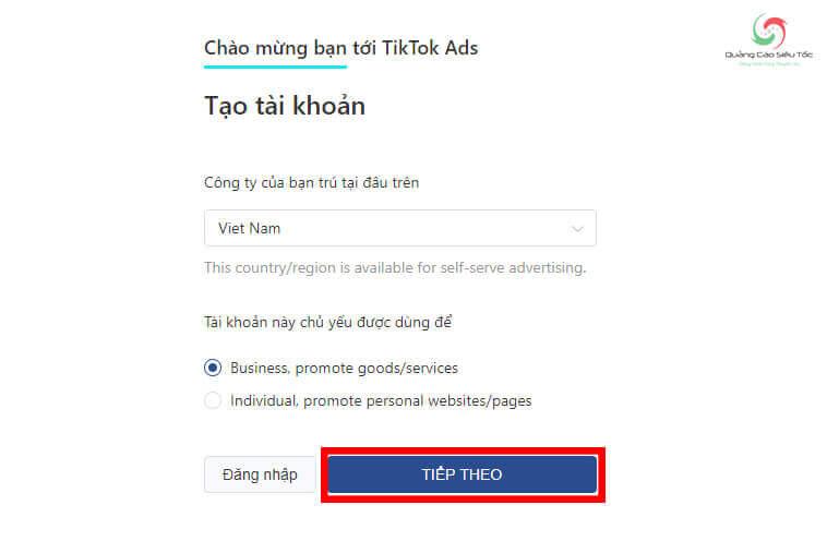 Chọn mục đích sử dụng tài khoản quảng cáo TikTok