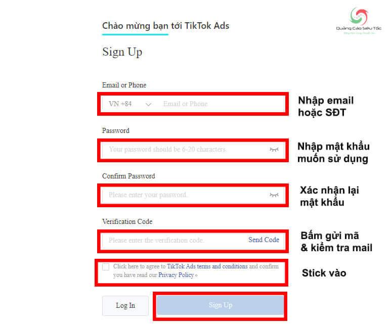 Đăng ký thông tin tài khoản quảng cáo của TikTok