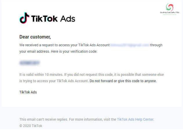 Email gửi kèm mã xác minh của Tik Tok