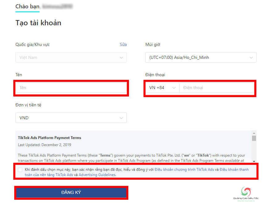 Hoàn thành các bước đăng ký tài khoản TikTok ads