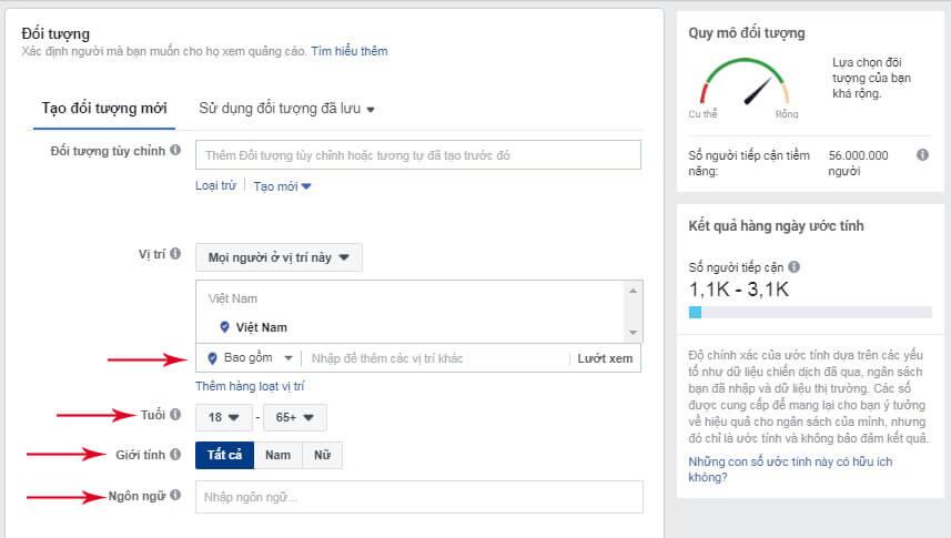 target quảng cáo facebook