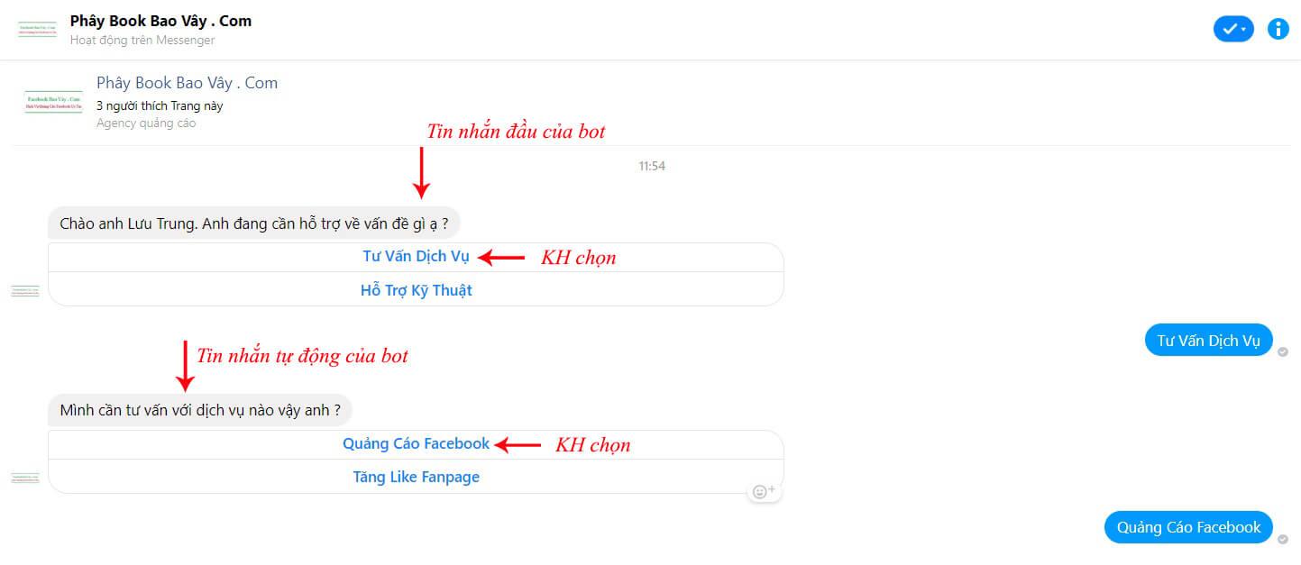 test trả lời tin nhắn tự động trên fanpage