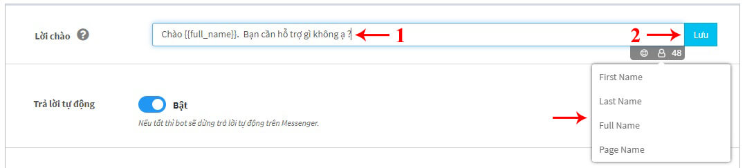 thêm lời chào chatbot ahachat