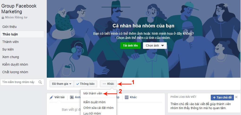 thêm người vào nhóm facebook