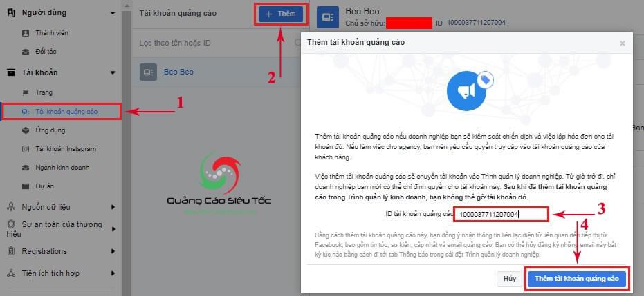 Hướng dẫn thêm tài khoản cá nhân vào Facebook Business