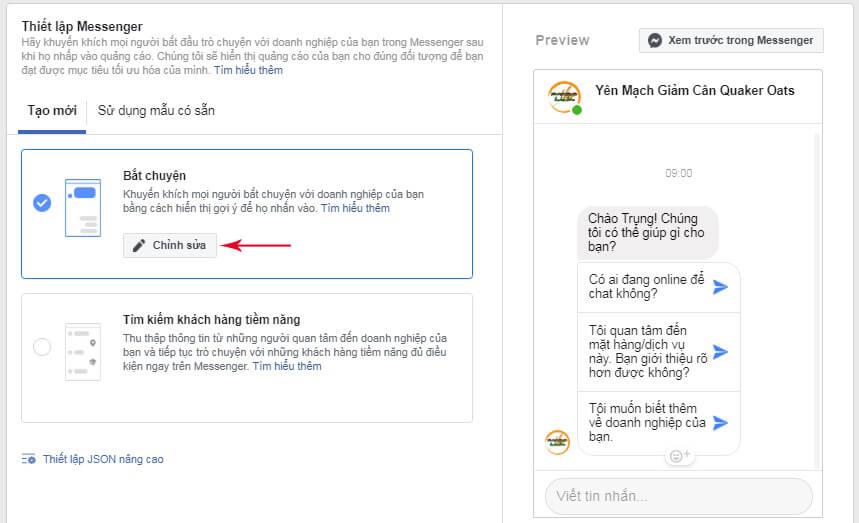 thiết lập messenger khi quảng cáo