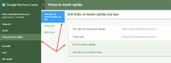 thông tin google merchant