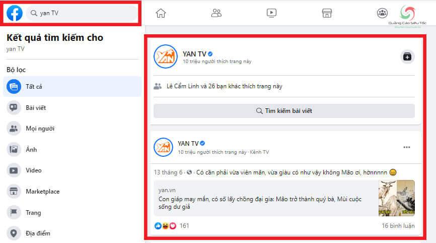 Dấu tích xanh Facebook của Yan TV