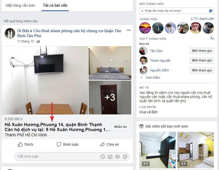 tìm kiếm trong group facebook