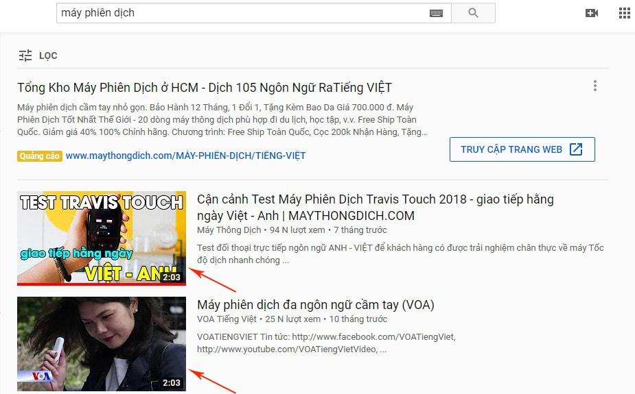 tìm kiếm youtube