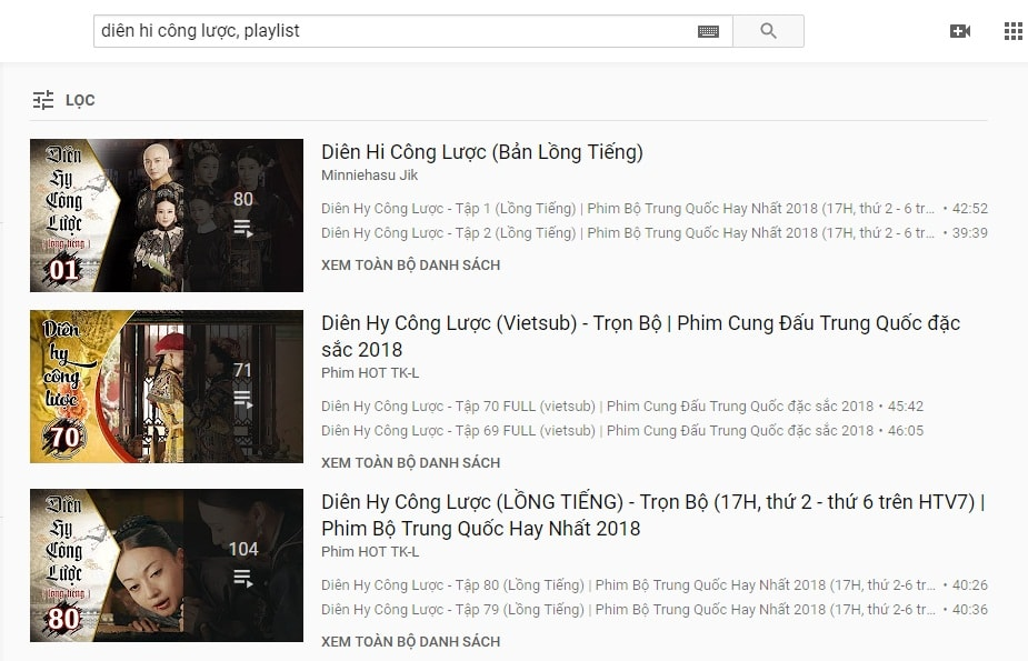 tìm playlist trên youtube