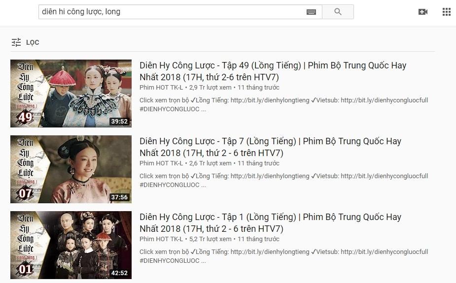 tìm video ngắn dài trên youtube