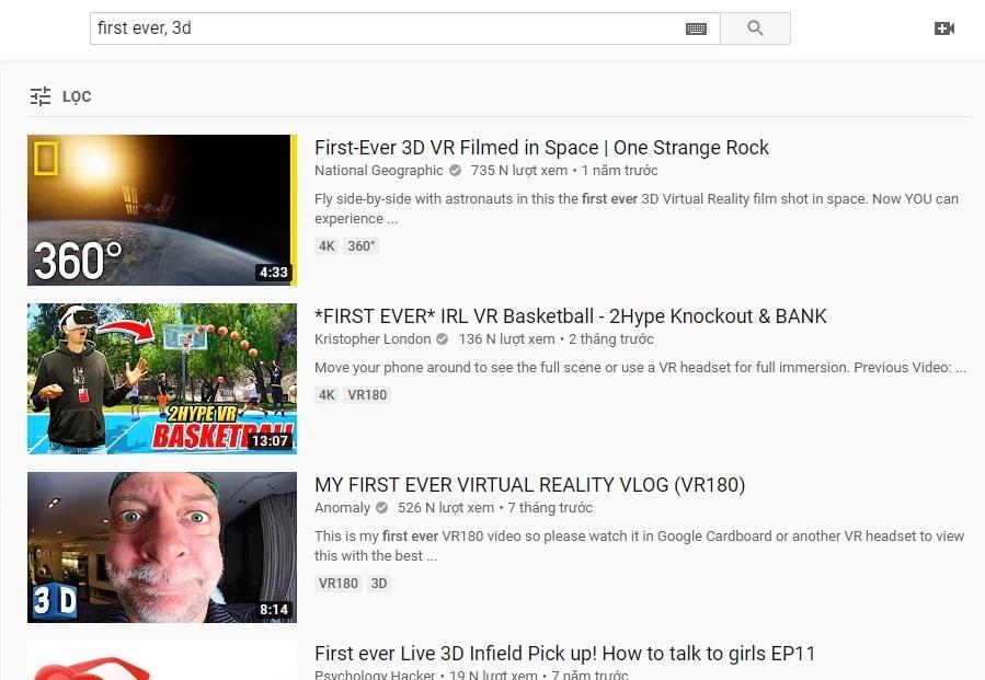 tìm video youtube 3d