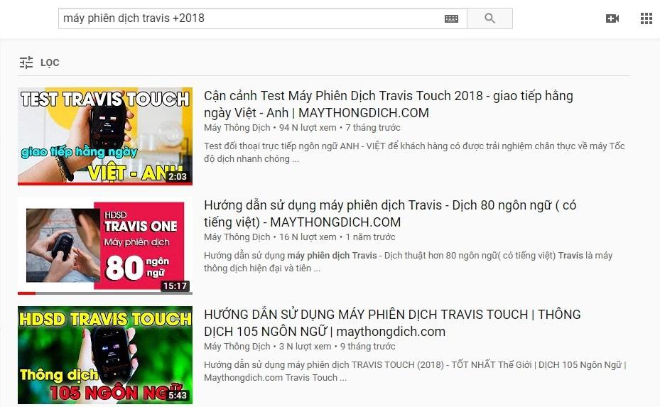 tìm video youtube theo năm