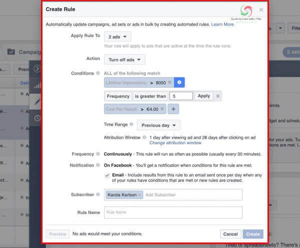 Thiết lập quy tắc tối ưu Facebook ads tự động