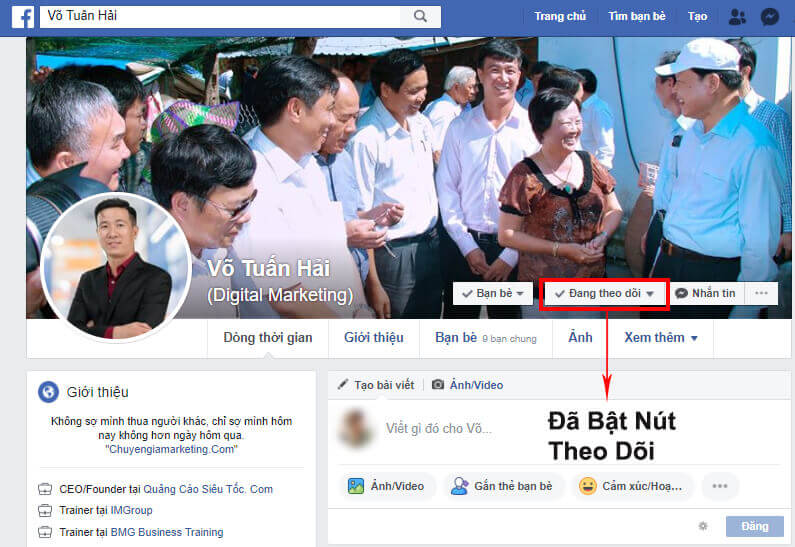 Tài khoản đã bật chế độ theo dõi trên Facebook