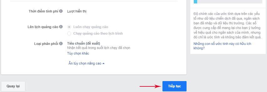 Tùy chọn nâng cao quảng cáo messenger
