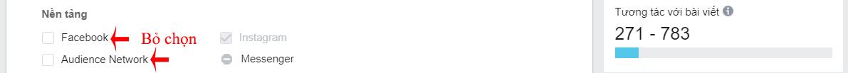 vị trí quảng cáo instagram