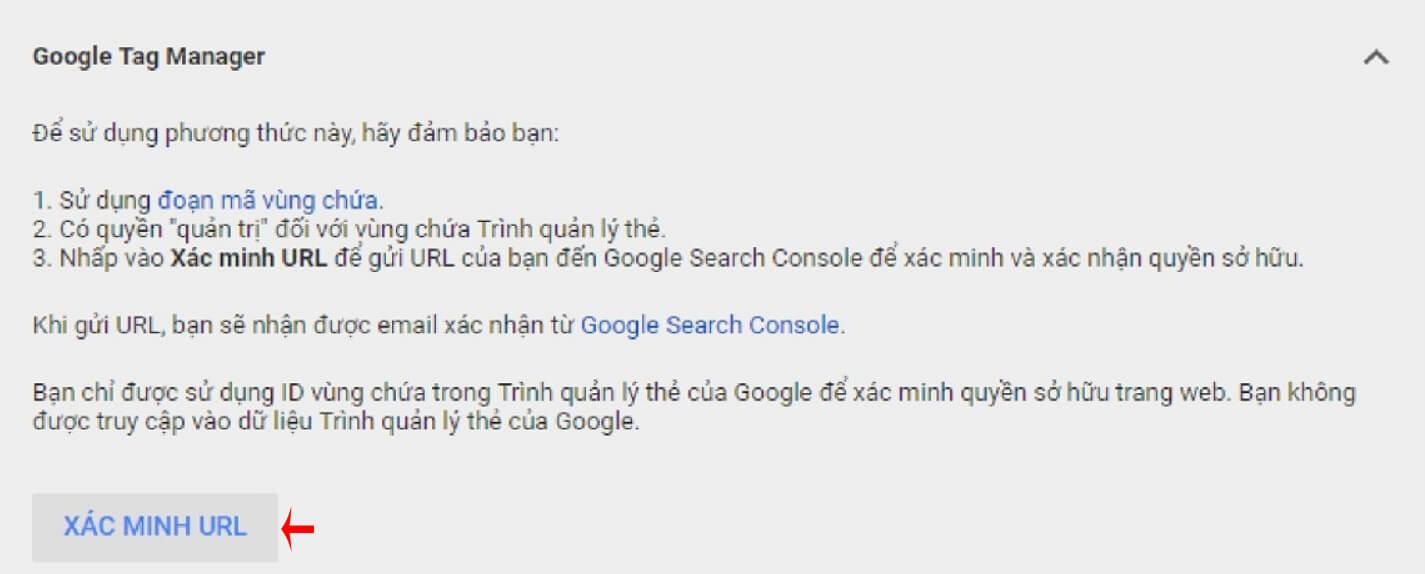 xác minh merchant qua google tag manager