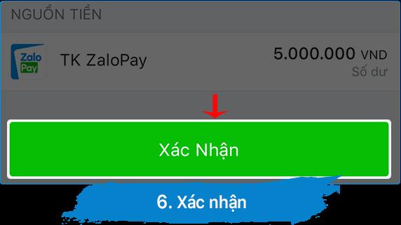 xác nhận chuyển tiền zalopay