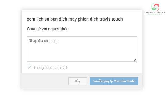 Nhập địa chỉ email cần chia sẻ video riêng tư Youtube