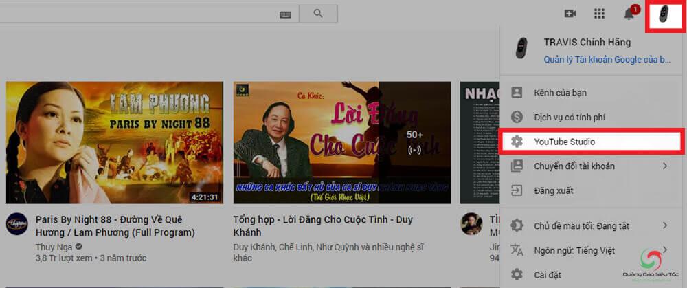 Truy cập Youtube Studio để xóa video đã up trên Youtube
