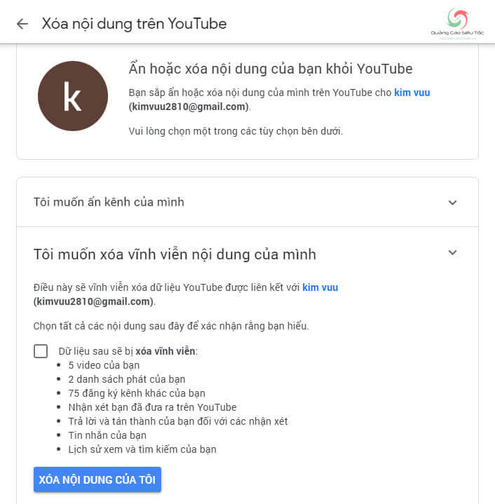 Xác nhận xóa kênh Youtube vĩnh viễn
