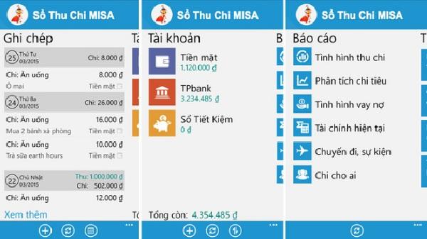 App quản lí chi tiêu Misa hỗ trợ ngôn ngữ Việt