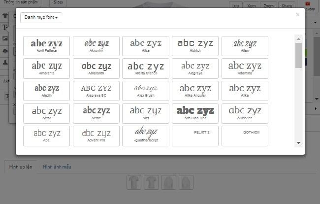App thiết kế áo thun cách chọn font chữ