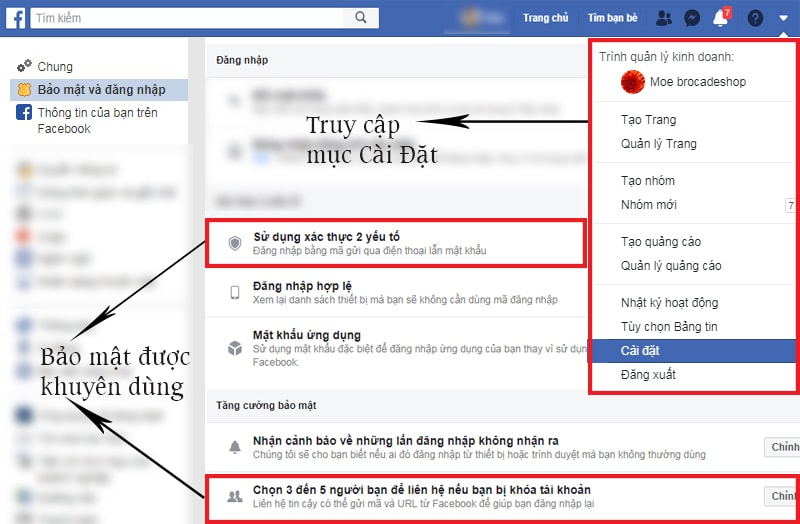 Các bước cài đặt bảo mật cho tài khoản bán hàng Facebook