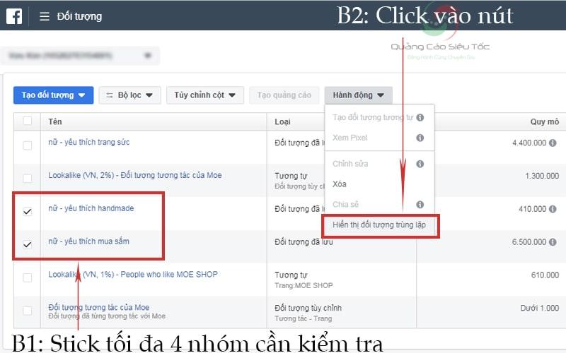 Các bước kiểm tra trùng lặp đối tượng trên facebook