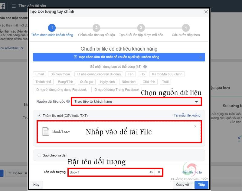 Các bước tải file data khách hàng lên custom audience