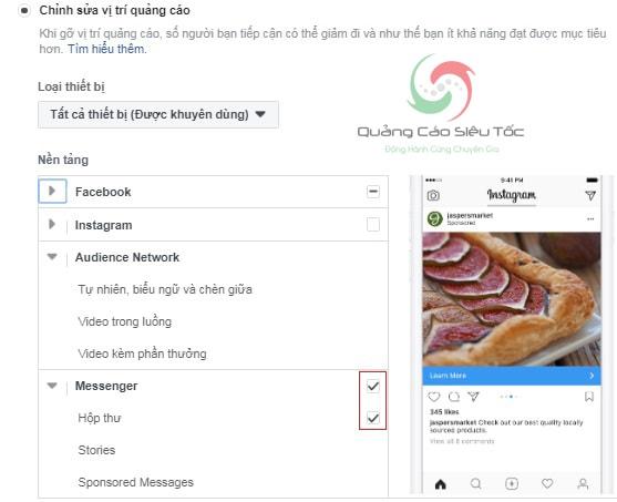 quảng cáo messenger facebook