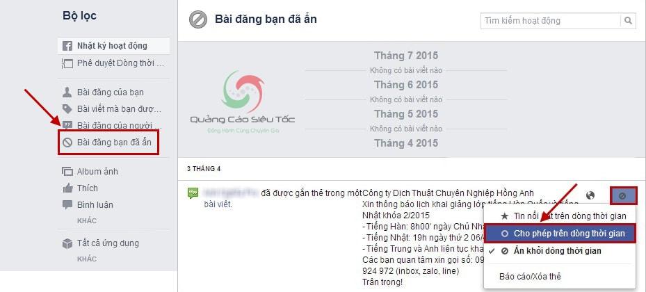 cách mở lại bài viết đã ẩn trên facebook