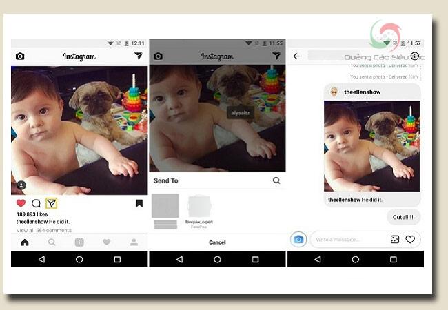 cách nhắn tin trên instagram và gửi bài post trực tiếp