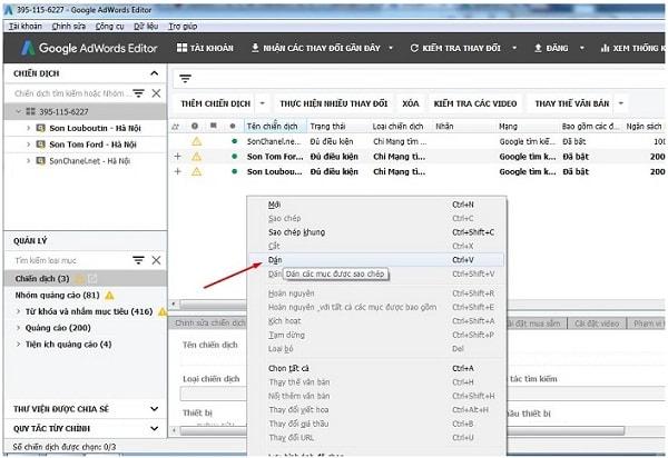Hướng dẫn cách sử dụng công cụ Adwords Editor