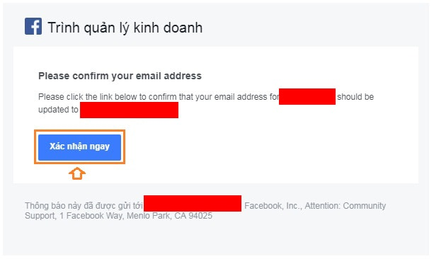 Xác nhận mail Facebook Business