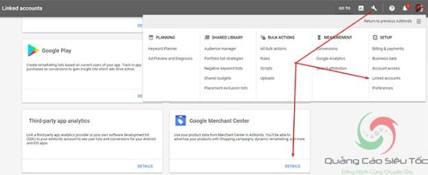 Liên kết tài khoản Adwords với tài khoản Google Merchant Center