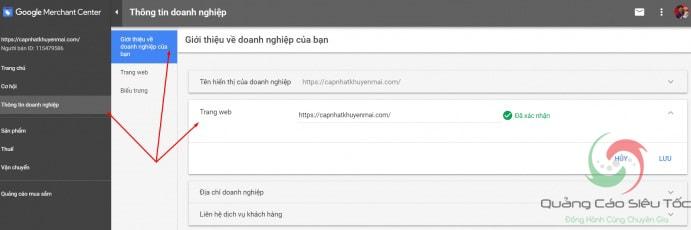 Thiết lập các thông tin tài khoản Google Merchant Center