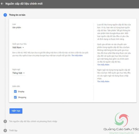 Cập nhập thông tin nguồn cấp dữ liệu trên tài khoản Google Merchant Center