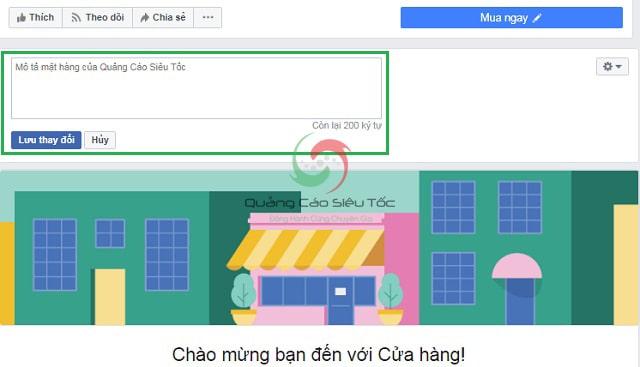 Tạo trang cửa hàng trên facebook