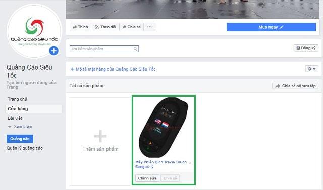 Xử lý sản phẩm trên fanpage Facebook