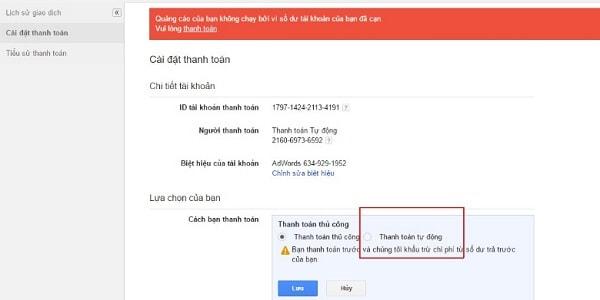 Cách Thanh Toán Google Adwords