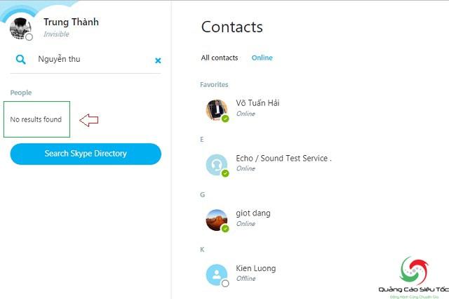 Tìm bạn bè trên Skype bằng tên