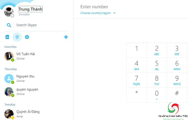 Nhấp vào avatar người dùng để xem id skype