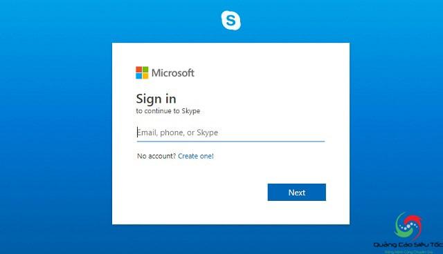 Truy cập vào liên kết để đến cửa sổ đăng nhập tài khoản Skype