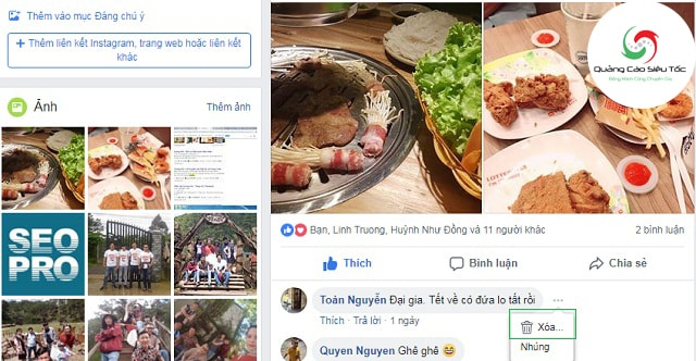 Cách xóa bình luận của người khác trên Facebook