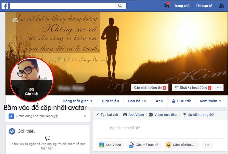 Cập nhật avatar từ tài khoản cá nhân Facebook