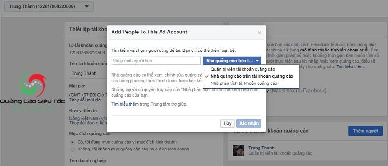 Chia sẻ quyền quản lý trình quản lý quảng cáo Facebook